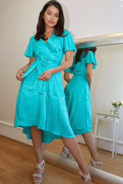 Aqua Animal Print Wrap Midi Dress